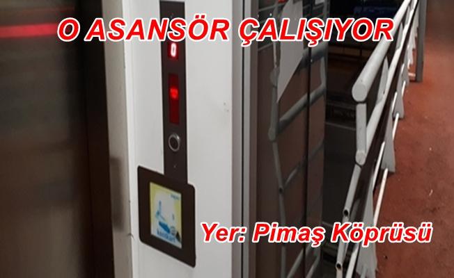 Pimaş üst geçidi asansörü çalışıyor