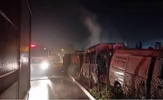 Hurda araçların bulunduğu alanda yangın çıktı!
