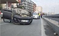 Kazada takla atan araçtan burnu bile kanamadan çıktı!