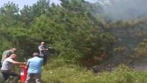 Sağlık çalışanlarından yangına müdahale